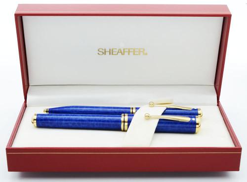 Sheaffer Grand Connaisseur Fountain Pen Ballpoint Set (UK) - Rare Blue Ronce, 18k Medium Nib (Near Mint in Box, Works Well)