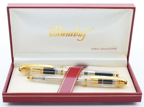 Columbus Progetto Fountain Pen Ballpoint Set  (1990s) - Clear Demonstrator, Med GP Nib (Mint in Box, Works Well)