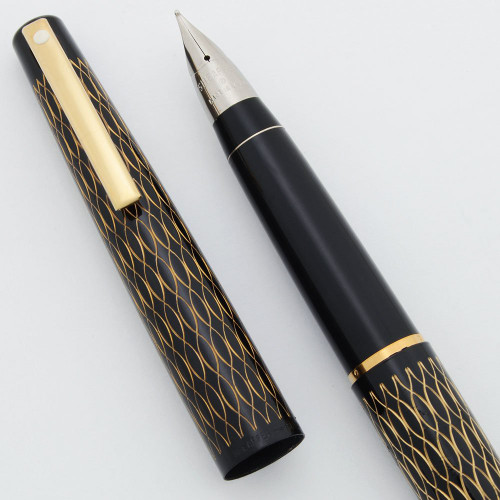Lady Sheaffer 632 Fountain Pen (1975) - Black Tulle, Black Section, Triumph Nibs (New Old Stock, Works Well)