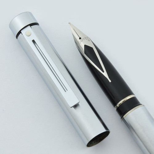 Sheaffer TARGA 1001 Fountain Pen (Later Version) - Brushed Chrome, Steel Nibs (New Old Stock)