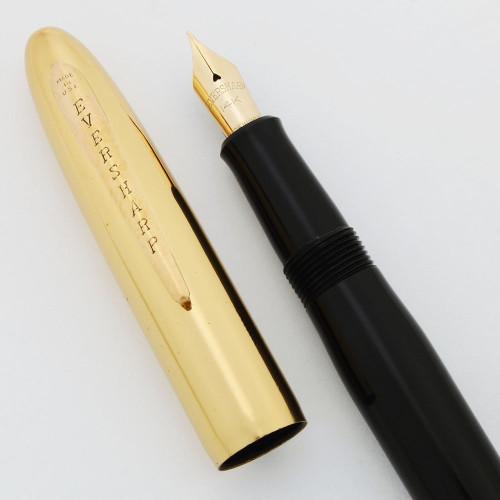 "Eversharp ""Luxury"" Symphony 707 Fountain Pen - Gold Plated Cap, Colored Barrel, 14k Flexible Nib (New Old Stock, Restored)"