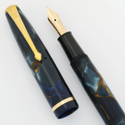 Conway Stewart 12 Fountain Pen - Marbled Blue and Golden Brown, Medium + Flexible Nib (Excellent, Restored)