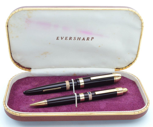 Eversharp Skyline Demi J76 Fountain Pen Set - Burgundy w Gold Derby & Wide Band, 14k Medium Flexible Nib (New Old Stock in Box, Restored)