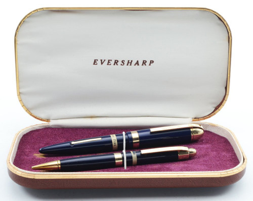 Eversharp Skyline Demi J76 Fountain Pen Set - Blue w Gold Derby & Wide Band, 14k Fine Manifold Nib (New Old Stock in Box, Restored)