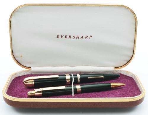Eversharp Skyline Demi J76 Fountain Pen Set - Green w Gold Derby & Wide Band, 14k Gold Medium Manifold Nib (New Old Stock in Box, Restored)