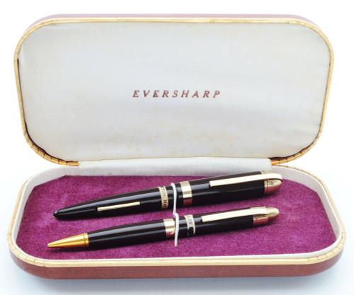 Eversharp Skyline Demi J76 Fountain Pen Set - Blue w Gold Derby & Wide Band, 14k Medium Flexible Nib (New Old Stock in Box, Restored)