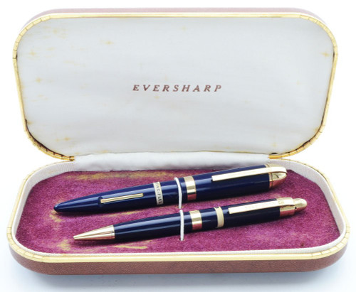 Eversharp Skyline Demi J76 Fountain Pen Set - Blue w Gold Derby & Wide Band, 14k Fine Flexible Nib (New Old Stock in Box, Restored)