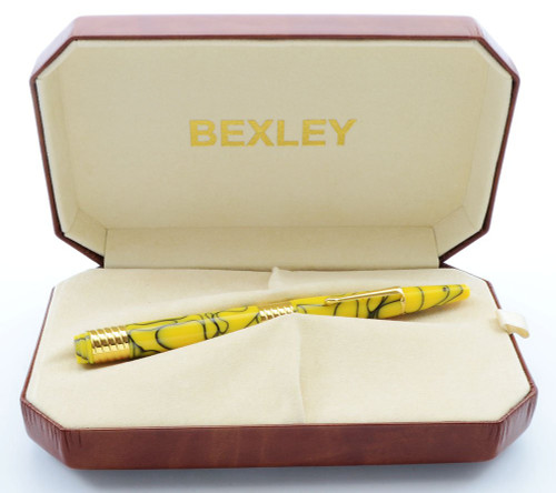 Bexley LE Fountain Pen - Yellow Tiger Stripe, 18k Stub (Near Mint in Box, Works Well)