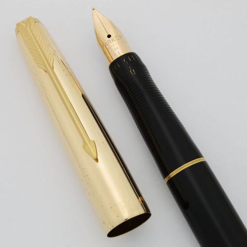 Parker VP Fountain Pen - Black, 1/10 12k GF Cap, 14k Medium  #66 Nib (Excellent, Restored)