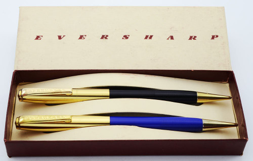 Eversharp 1604 Twin Pencil Set (late 1940s) - Two 1.1mm Pencils w Gold Caps (New Old Stock in Box)