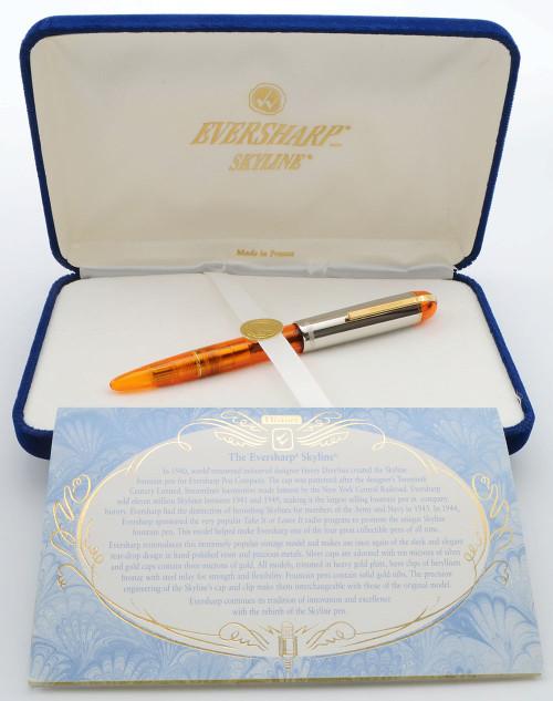 Wahl-Eversharp (Modern) Skyline Demonstrator Fountain Pen - Terrific Orange, Fine-Medium Nib (Like New in Box, Works Well)