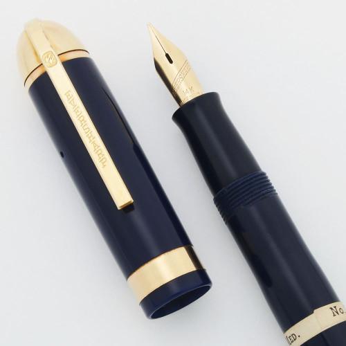 Eversharp Skyline Demi J76 Fountain Pen - Blue w Gold Derby & Wide Band, 14k Medium Flexible Nib (New Old Stock, Restored)
