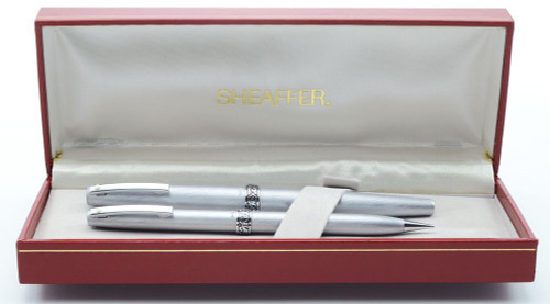 Lady Sheaffer 620 Fountain Pen & Pencil Set - 1970s,  Brushed Chrome, Ornate Florentine Band (New Old Stock in Box)