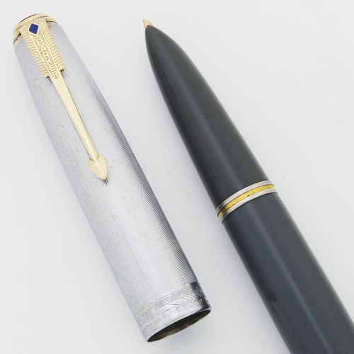 Parker 51 Vacumatic Fountain Pen (1944) - Dove Gray, Sterling Cap, Fine Gold Nib (Excellent, Restored)