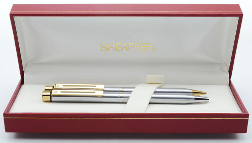 Sheaffer Targa 1001XG Ballpoint & Pencil Set (Later Version) - Brushed Chrome, Gold Trim (New Old Stock in Box)