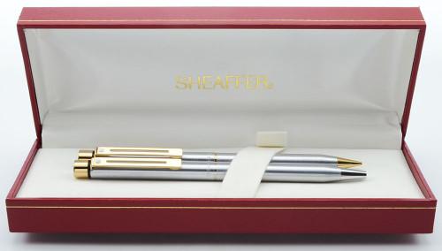 Sheaffer Targa 1001XG Ballpoint & Pencil Set (Later Version) - Brushed Chrome, Gold Trim (New Old Stock in Box)