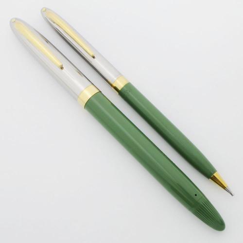 Sheaffer Clipper Snorkel Fountain Pen Pencil Set - Sage Green, Medium PdAg Triumph Nib (Excellent +, Restored)