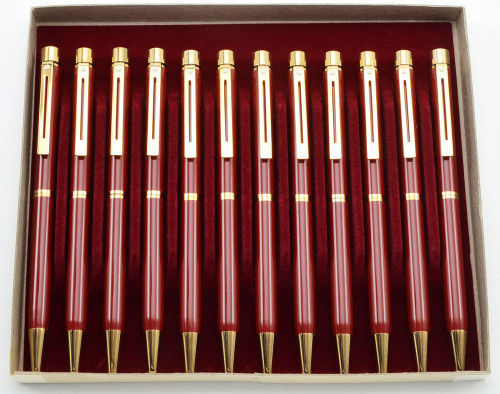 WHOLESALE LOT OF 12: Sheaffer Targa 1021 Ballpoint Pen - Laque Imperial Red (New Old Stock)