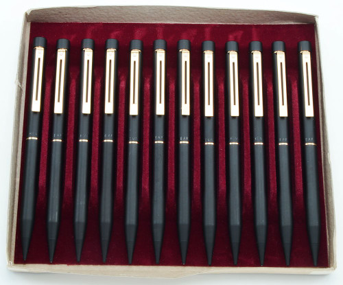 WHOLESALE LOT OF 12: Sheaffer Targa 1003 Mechanical Pencil - Early Version, Matte Black, Gold Trim .9mm Leads (New Old Stock)