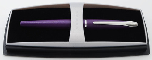 Cross ATX Fountain Pen - Victoria Purple Matte, Chrome Trim, Broad Nib (Mint In Box)