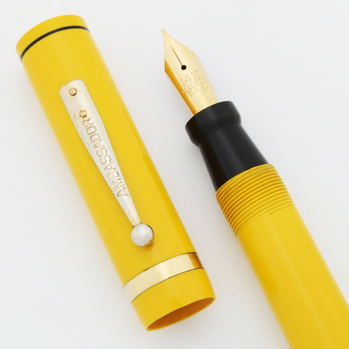 Ambassador Oversize Fountain Pen - Yellow, Medium 14k Flexible Gold Nib (Excellent, Restored)