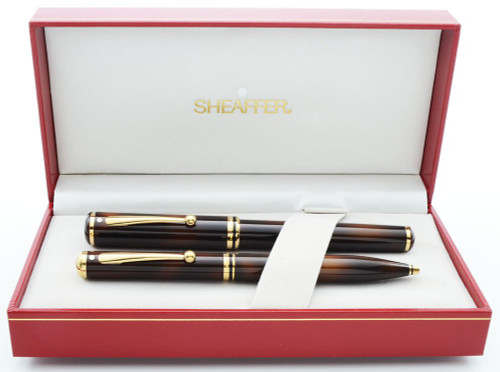 Sheaffer Grand Connaisseur Fountain and Ballpoint Pen Set (1987) - Tortoiseshell, Gold-Filled Trim, Broad 18k Nib (New Old Stock in Box)