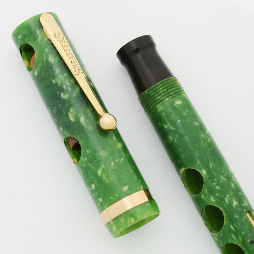 Sheaffer Lifetime Flat Top Demonstrator Oversized (Rare) - Jade Celluloid, Cut-Outs, No Nib (Superior, Nonworking)