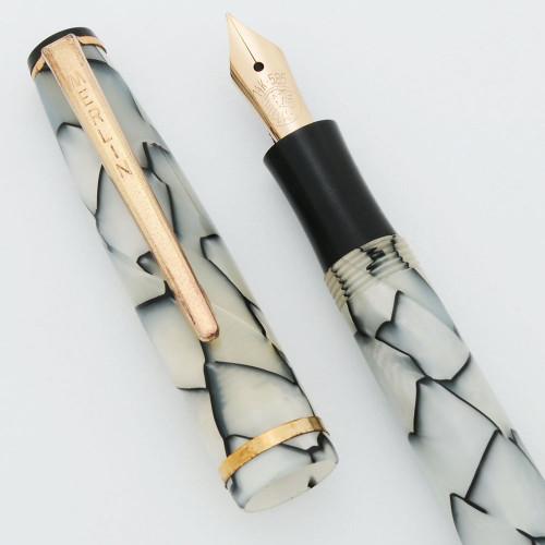 """Merlin """"Merlina"""" Fountain Pen (Denmark/Netherlands) - White Cracked Ice, Button Filler, 14k Flexible (New Old Stock, Restored)"""