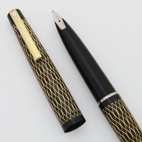 Lady Sheaffer 632 Fountain Pen (1975) - Black Tulle, Medium Steel Stylpoint Nib (New Old Stock, Works Well)