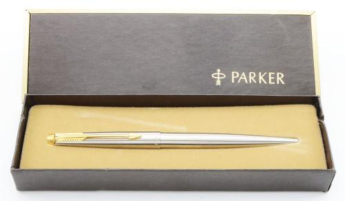 Parker 75 Flighter Deluxe Ballpoint Pen - Brushed Stainless Steel, Gold Trim   (Mint, in Box)