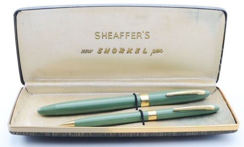 Sheaffer Admiral Snorkel Fountain Pen and Pencil Set - Hard to Find Sage Green, Medium 14k Nib (Superior in Box, Restored)