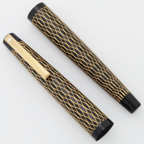 Lady Sheaffer 632 Fountain Pen Cap & Barrel Sets - Black Tulle, Gold Trim (New Old Stock)