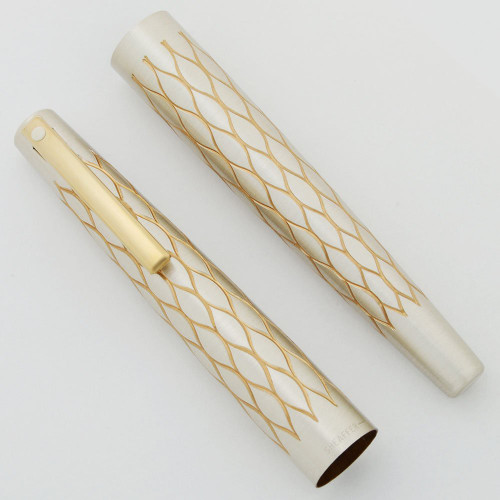 Lady Sheaffer 642 Fountain Pen Cap & Barrel Sets - Silver Tulle, Gold Trim (New Old Stock)