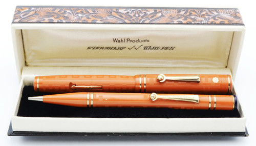 Wahl Eversharp Gold Seal Full Size Set - Early, Greek Key Red Hard Rubber, Fine Flexible Nib (Very Nice, Restored)