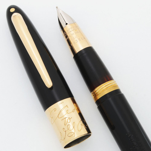 Sheaffer Triumph Autograph Fountain Pen (1949) - Black w 14k Gold Trim, Touchdown, Medium-Fine 14k Triumph Nib (Excellent, Restored)