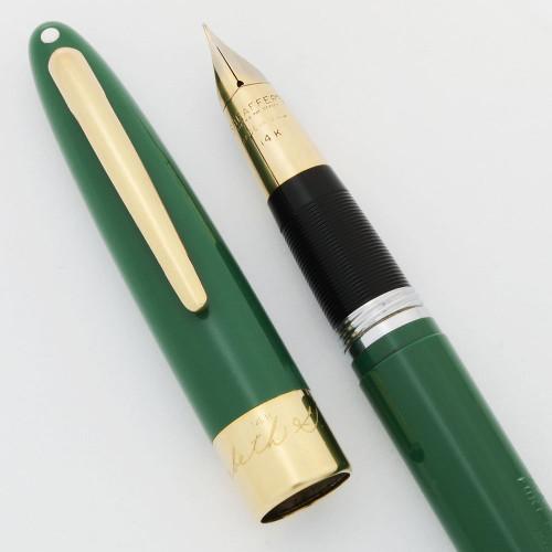 Sheaffer Signature TM Snorkel Fountain Pen - Green 14k Cap Band, Fine Triumph Nib (Excellent +, Restored)