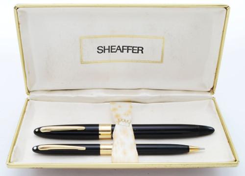 Sheaffer TM Signature Snorkel Pen & Pencil Set - Black, 14k Cap Band and Clip, Fine Triumph Nib (Excellent in Box, Restored)