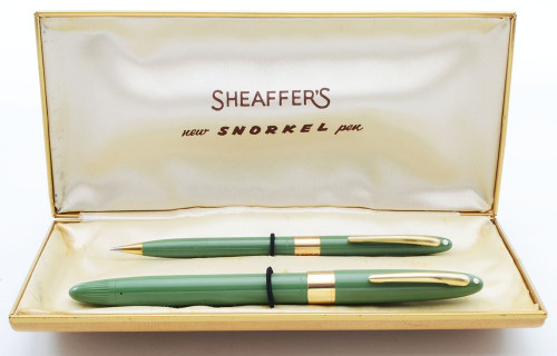 Sheaffer Statesman/Valiant Snorkel Fountain Pen & Pencil Set (Canada) - Sage Green, Medium 14k Triumph Nib (Excellent + in Box, Restored)