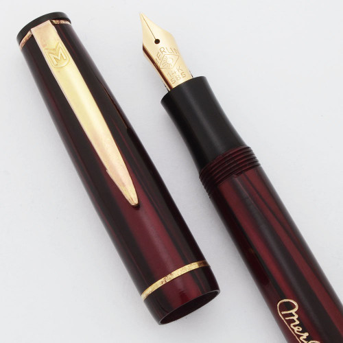 Merlin 33 Fountain Pen (Netherlands) - Red Striped Marble, Button Filler, 14k Fine (New Old Stock, Restored)