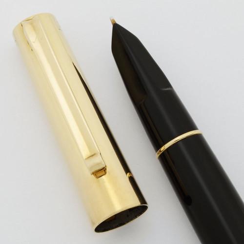 Fifth Avenue Demi Fountain Pen  - Black with Solid 14k Cap, 14k Fine Nib (Excellent +, Restored)