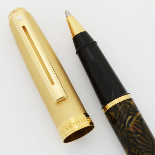 "Sheaffer Prelude Mini Ballpoint Pen - ""Tiger Eye"" Barrel, Matte Gold Cap (Near Mint, Works Well)"