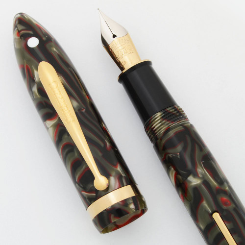 Sheaffer Balance II Limited Edition Fountain Pen - #0656/6000, Grey & Red Marble, Fine Lifetime Nib (Near Mint, Works Well)