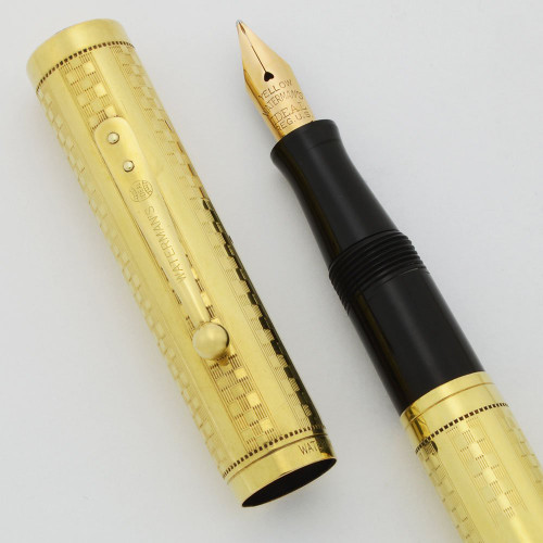 "Waterman 0552 Gothic (Checkerboard) Pattern -  Gold Filled, Unusual ""Yellow"" Extra Fine Flexible Nib (Excellent +, Restored)"