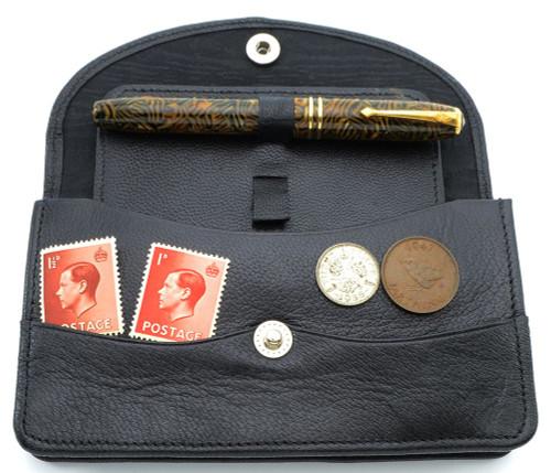"""Conway Stewart 550 """"Dinkie"""" Fountain Pen w Leather Case - Tiger Eye, Medium14k Nib (Excellent, Works Well)"""