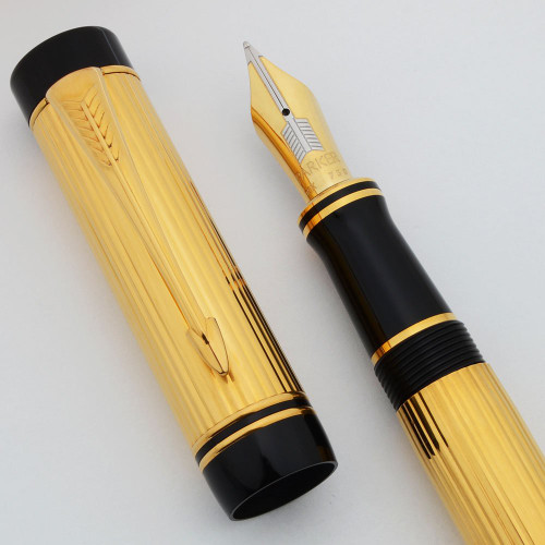 Parker Duofold Centennial Fountain Pen - Godron Gold Lined, 18k Fine (Excellent + in Box, Works Well)