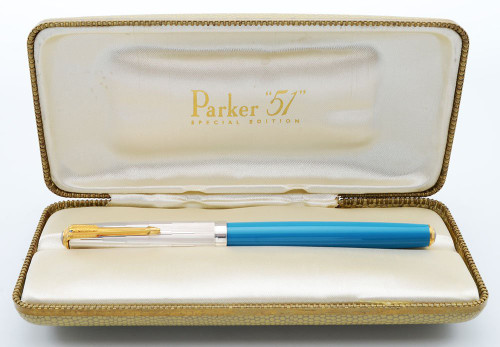 Parker 51 Special Edition 2002 - Turquoise w Sterling Cap and Gold Clip, Fine 14k Nib (Very Nice in Box, Works Well)