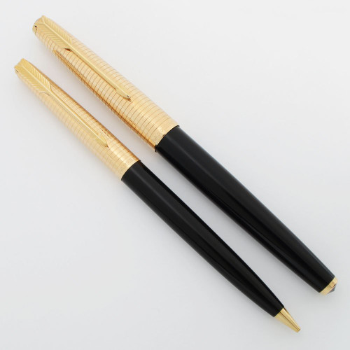 Parker 61 Consort Fountain Pen Set (1967 ca) - FP + MP, Mark III, Black w Gold Grid Cap, 14k Medium-Broad Nib (Superior, Works Well)