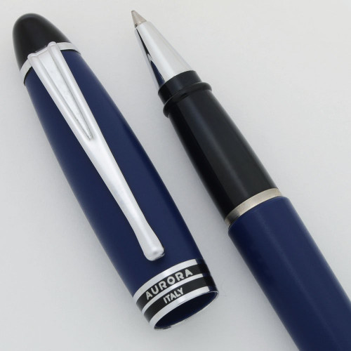 Aurora Ipsilon Rollerball Pen - Navy Blue with Silver Colored Trim (Near Mint in Box, Works Well)