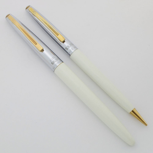 Waterman C/C Fountain Pen Set (1950s) -  White w Steel Caps, 14k Fine (Excellent, Works Well)