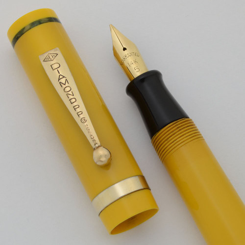 Diamond Point Fountain Pen (1930s) - Mandarin Yellow, Green Marbled Bands, 14k Warranted Fine Nib (Excellent, Restored)
